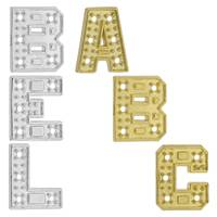 14K Gold Initial Block Font Setting Height 8.18mm