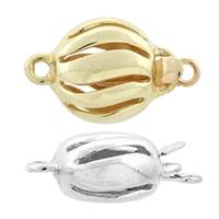 14K Hollow Button Bead Clasp