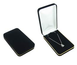 VELVET GOLD TRIM NECKLACE BOX 17891-BX