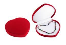 FLOCKED VELOUR NECKLACE LARGE HEART BOX 18901-BX