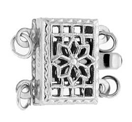 Sterling Silver Filigree 2-Rows Clasp 12mm