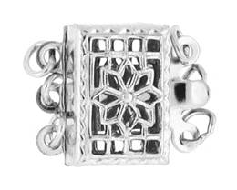 Sterling Silver Filigree 3-Rows Clasp 12mm