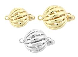 14K Hollow Spiral Ball Clasp