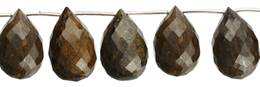 Bronzite Bead Topside Hole Faceted Drop Shape