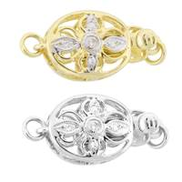 14K Diamond Accent 4-Pedals Oval Clasps