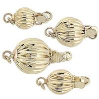14KY Corrugated Ball Clasp With Extra Rings