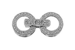 Rhodium Silver Circle Fold Over Clasp 12mm