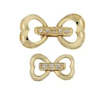 Gold Vermeil Cubic Zirconia Fold-Over Heart Clasp