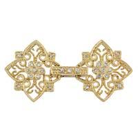 Gold Vermeil Cubic Zirconia Fold-Over Filigree Clasp
