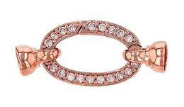 Rose Gold Vermeil Cubic Zirconia Oval Springring Clasp