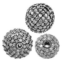 Rhodium Sterling Silver Ball Diamond Bead B-1