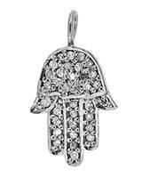 Rhodium Silver Hamsa Diamond Charm 16mm