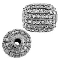 Rhodium Sterling Silver Barrel Diamond Bead R-1