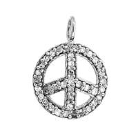 Rhodium Silver Peace Sign Diamond Charm 12mm
