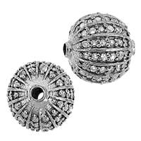 Rhodium Sterling Silver Ball Diamond Bead B-2