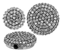 Rhodium Sterling Silver Button Diamond Bead U-1