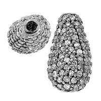 Rhodium Sterling Silver Drop Diamond Bead D-1