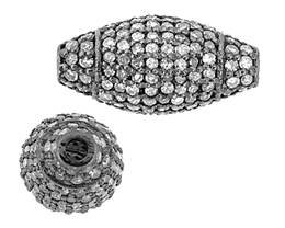 Rhodium Sterling Silver Barrel Diamond Bead R-2