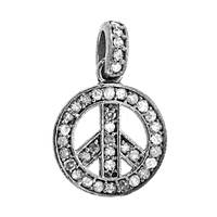 Rhodium Silver Peace Sign Diamond Charm 13mm