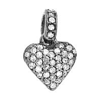 Rhodium Silver Heart Diamond Charm 10mm