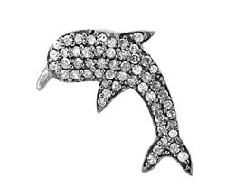 Rhodium Silver Diamond Dolphin Pendant 22mm