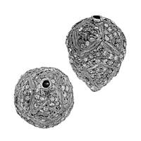 Rhodium Sterling Silver Drop Diamond Bead D-3