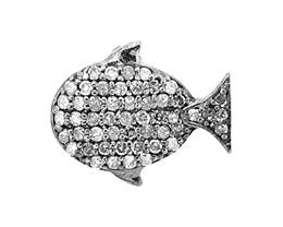 Rhodium Silver Whale Diamond Charm 15mm