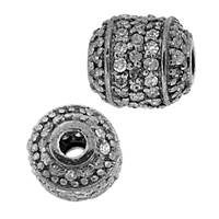 Rhodium Sterling Silver Barrel Diamond Bead R-4