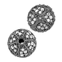 Rhodium Sterling Silver Ball Diamond Bead B-4