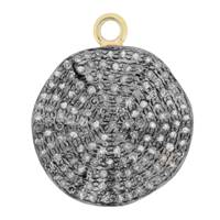 Rhodium Silver Wave Coin Diamond Charm 20mm