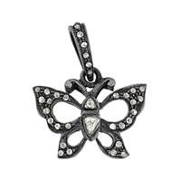 Rhodium Silver Butterfly Diamond Charm  20mm