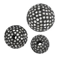 Rhodium Sterling Silver Ball Diamond Bead B-5