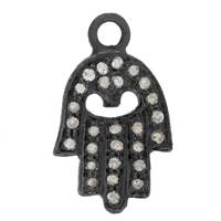 Rhodium Silver Hamsa Diamond Charm 12mm