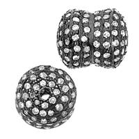 Rhodium Sterling Silver Barrel Diamond Bead R-6