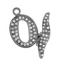 Rhodium Silver Toggle Diamond Clasp 15mm
