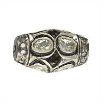 Rhodium Sterling Silver Barrel Diamond Bead R-16