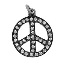 Rhodium Silver Peace Sign Diamond Charm 19mm