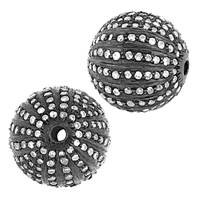 Rhodium Sterling Silver Ball Diamond Bead B-6