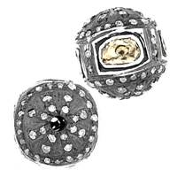 Rhodium Sterling Silver Cube Diamond Bead C-2