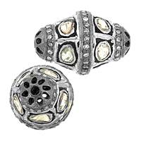 Rhodium Sterling Silver Barrel Diamond Bead R-8
