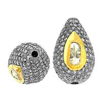 Rhodium Sterling Silver Pear Diamond Bead P-1