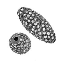 Rhodium Sterling Silver Rice Diamond Bead C-9