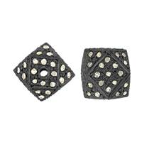 Rhodium Sterling Silver Hexagon Diamond Bead