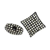 Rhodium Sterling Silver Pillow Diamond Bead W-1