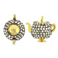 Rhodium Silver Teapot Diamond Charm 10mm