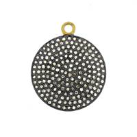 Rhodium Silver Diamond Disc Pendant 26mm