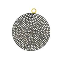Rhodium Silver Diamond Disc Pendant 33mm