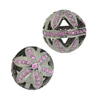 Rhodium Silver Ruby Accent Ball Bead