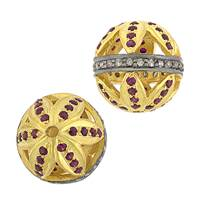 Gold Plated Sterling Silver Ruby Accent Ball Bead B-1