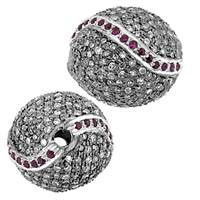 Rhodium Silver Ruby Accent Ball Diamond Bead